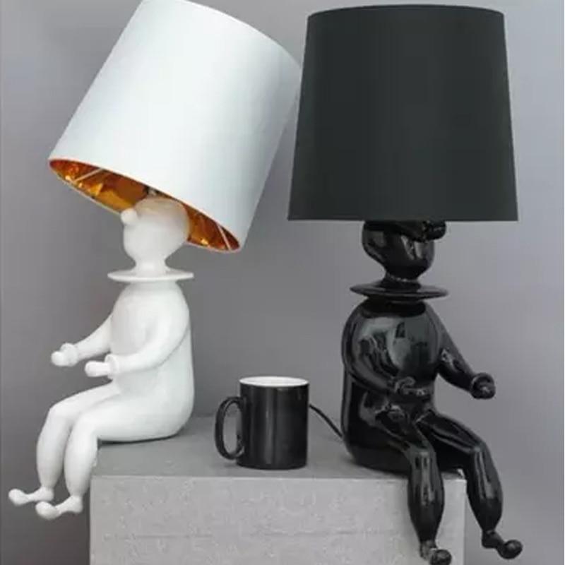 [해외]GETOP 광대 테이블 램프 현대 주도 패브릭 램프 쉐도우 데스크 조명 거실 침실 연구 가정 조명 하위 테이블 램프 고정 장치/GETOP Clown Table Lamp Modern Led Fabric Lampshade Desk Lights Living Room