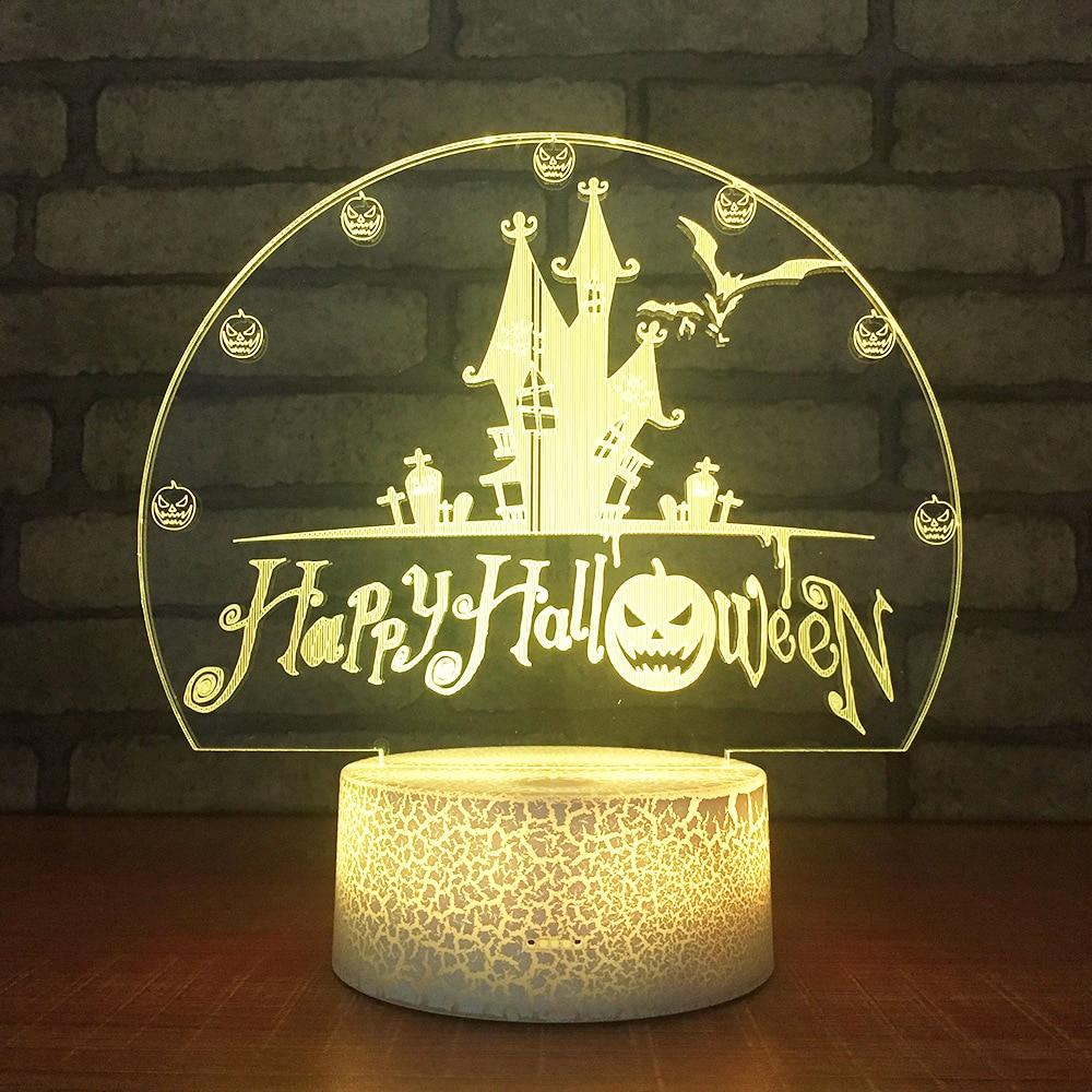 [해외]할로윈 프로 모션 선물 Led 책상 램프 아크릴 크리 에이 티브 홈 장식 조명 Usb 다채로운 테이블 램프 3D 야간 조명/Halloween Promotional Gifts Led Desk Lamp Acrylic Creative Home Decoration Li
