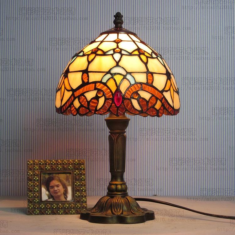 [해외]8 인치 티파니 조명 지중해 스테인드 글라스 전등 티파니 테이블 램프 국가 스타일 침대 램프 E27 110-240V/8inch Tiffany lighting Mediterranean Stained Glass Lampshade Tiffany Table Lamp C