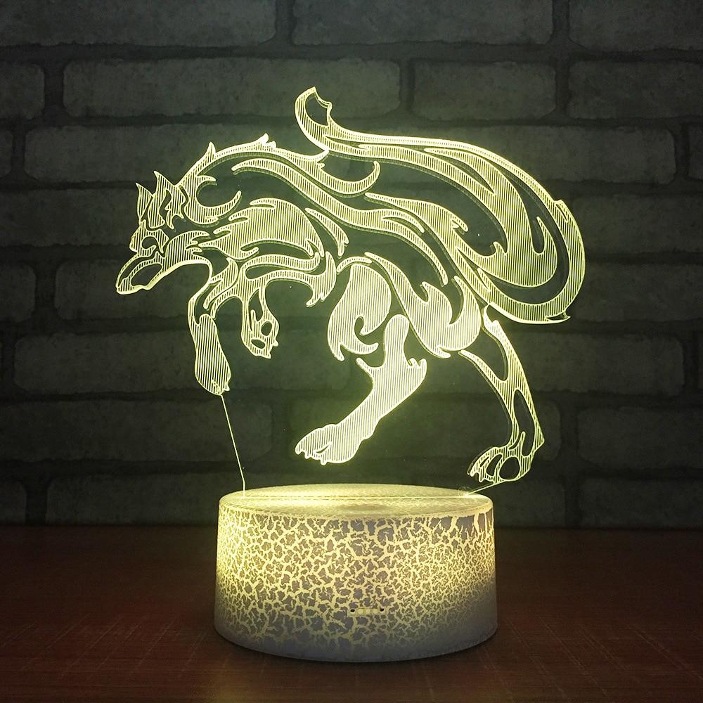 [해외]늑대 침실 3d 작은 밤 책상 램프 생일 선물 창조적 인 Led 시력 빛 원격 변경 색 테이블 램프 거실/Wolf Bedroom 3d Small Night Desk Lamp Birthday Gift Creative Led Sight Light Remote Col