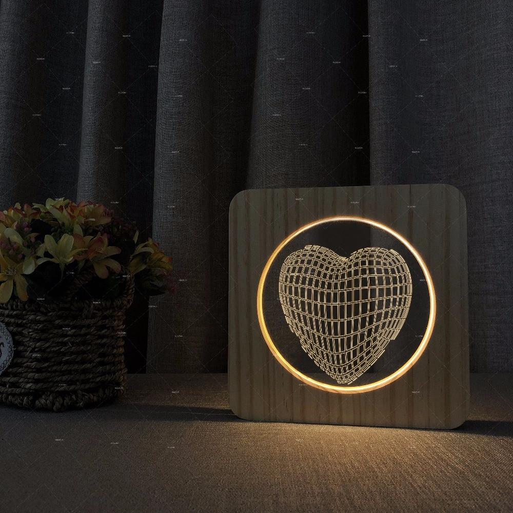 [해외]사랑하는 마음 3D 모양 나무 아크릴 조명 따뜻한 하얀 조명 선물을 사랑하는 것에 대 한 지원/LOVE HEART 3d shape Wooden acrylic lights warm white lights gift for LOVERS Support