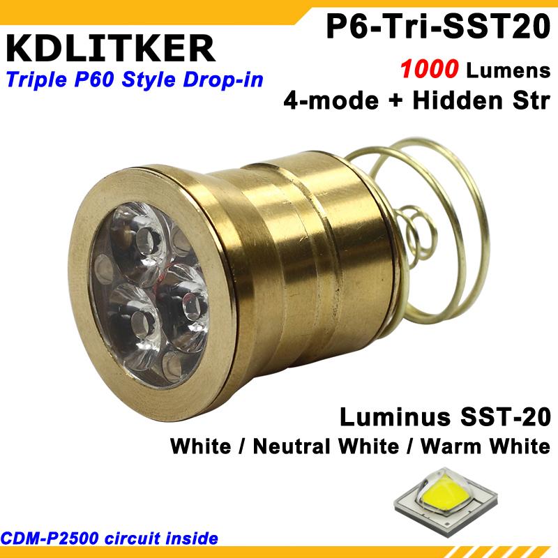 [해외]Kdlitker P6-TRI 트리플 루미 너스 SST-20 1000 루멘 3 v-9 v p60 드롭 인 (dia. 26.5mm)/Kdlitker P6-TRI 트리플 루미 너스 SST-20 1000 루멘 3 v-9 v p60 드롭 인 (dia.