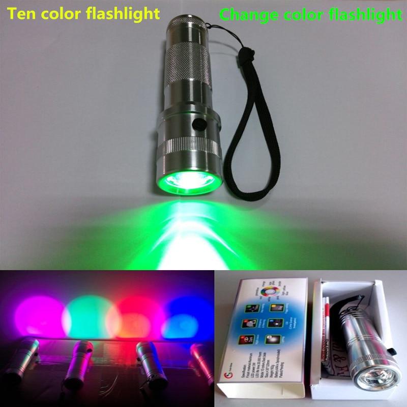 [해외]Light emitting products The flashlight can change color 10 color flashlight flashlight senior colorful gifts/Light emitting products The flashligh