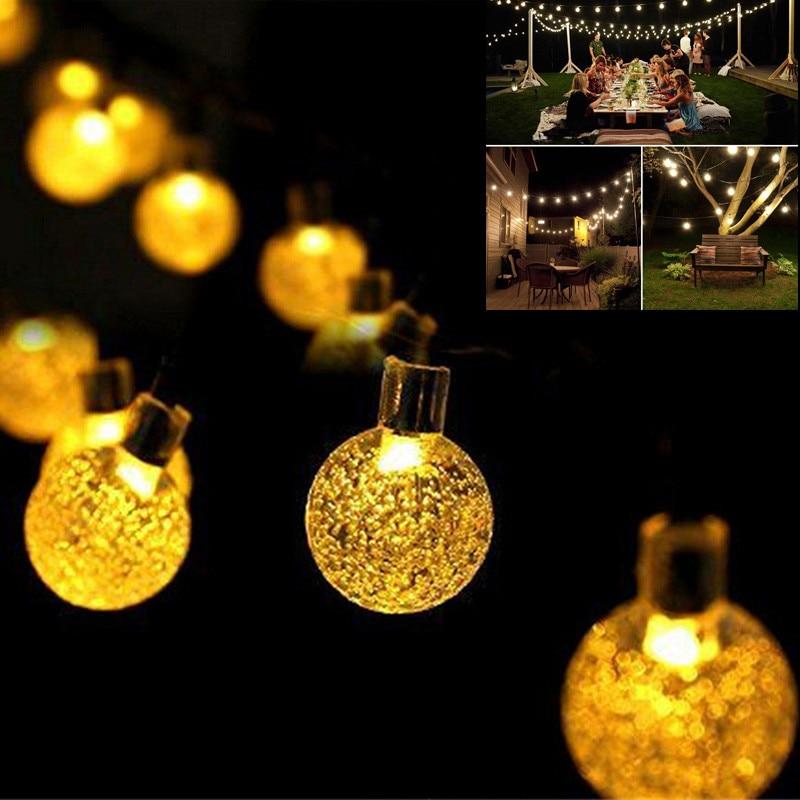 [해외]새로운 20 leds 5 m 크리스탈 공 태양 램프 전원 led 문자열 요정 조명 태양 garlands 정원 크리스마스 장식 야외/새로운 20 leds 5 m 크리스탈 공 태양 램프 전원 led 문자열 요정 조명 태양 garlands 정원 크리
