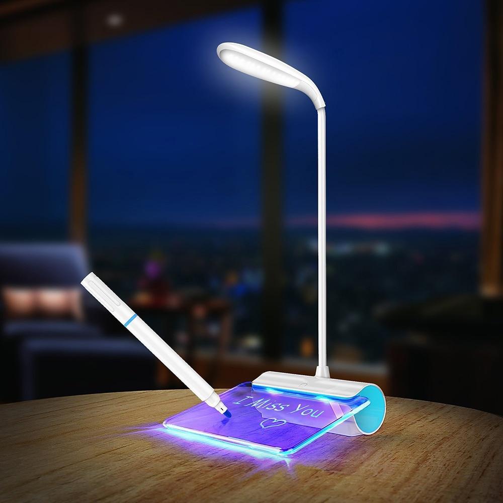 [해외]LED Table Lamp Novelty Eye Protection USB Rechargeable Desk Lamp Touch Switch Reading Light Message board Light 3 Mode Dimming/LED Table
