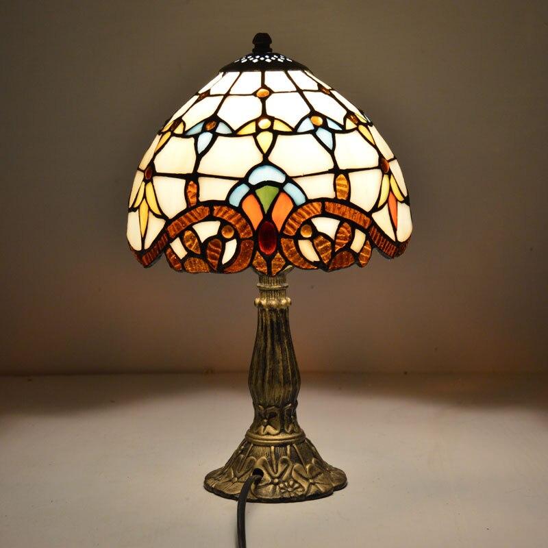 [해외]티파니 테이블 램프 8 인치 클래식 유럽 바로크 스테인드 글라스 머리맡 램프 e27 110-240 v