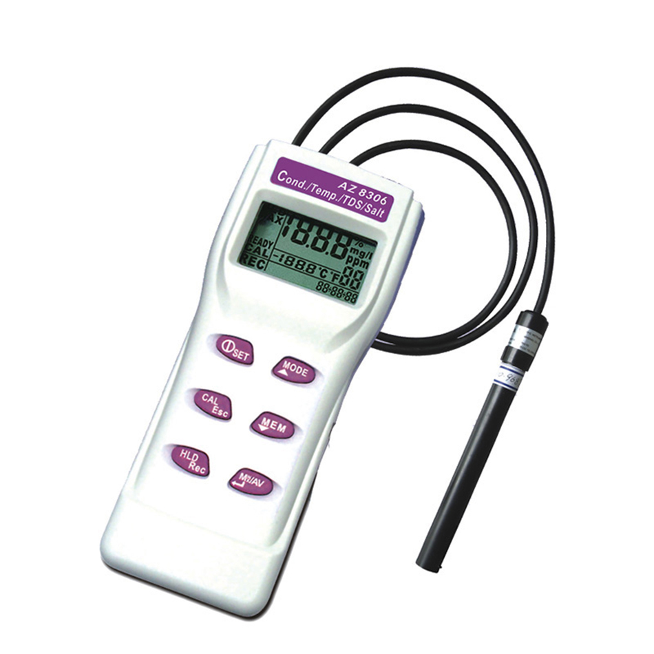 [해외]AZ8306 다기능 고정밀 염분 측정기 전도도 TDS 감지기 수질 분석기/AZ8306 Multi-Functional High-Precision Salinity MeterConductivity TDS Detector Water Quality Analyzer
