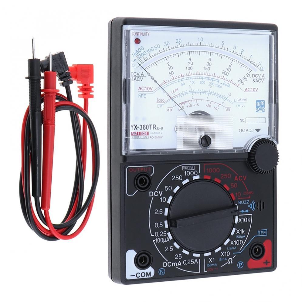[해외]YX- 360TRNB 미니 휴대용 내구성 Poin-ter 멀티 미터 (DC AC 전압 및 DC Curren 측정 용 1 쌍 테스트 펜 포함)