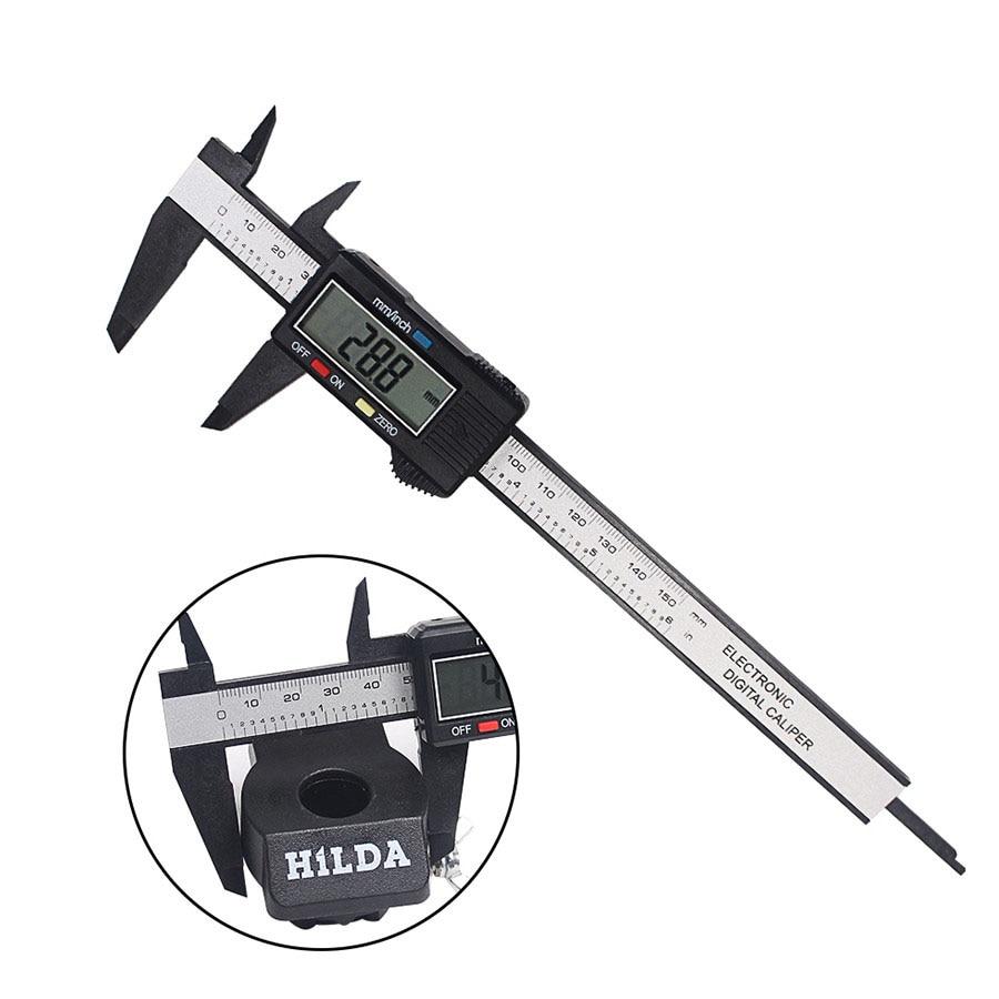 [해외]탄소 섬유 복합 150 mm 6 인치 버니어 디지털 전자 캘리퍼스 눈금자 검정색 측정 도구/Carbon Fiber Composite  150 mm 6 inch Vernier Digital Electronic Caliper Ruler Black Color Meas