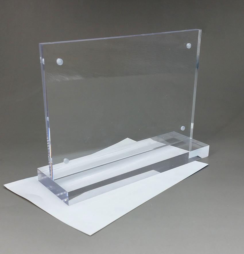 [해외]25x13cm 투명 아크릴 로그인 디스플레이 종이 카드 레이블 홀더 수평 T는 바탕 화면 2 개에 빨려 자석으로 스탠드/25x13cm Clear Acrylic Sign Display Paper Card Label Holder Horizontal T Stands