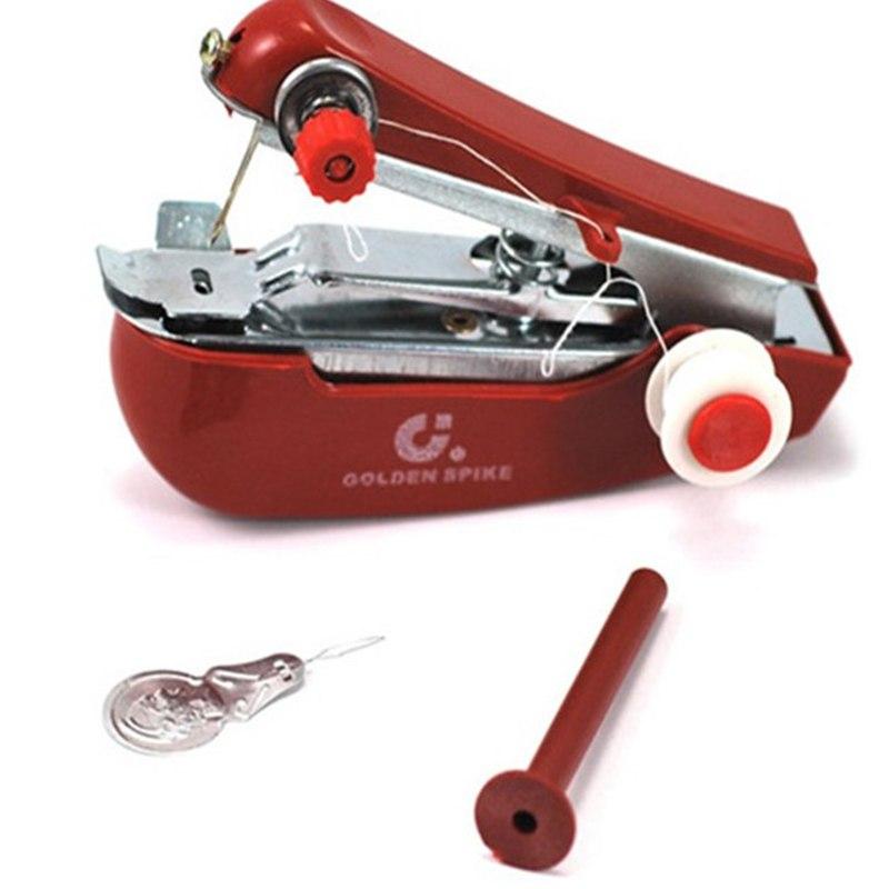 [해외]미니 재봉틀 홈 여행 소형 휴대용 수동 휴대용 DIY 바느질 작업 무선 기계 천 직물 스티치 Accessorie/Mini Sewing Machine Home Travel Small Handheld Manual Portable DIY Needlework Cordl