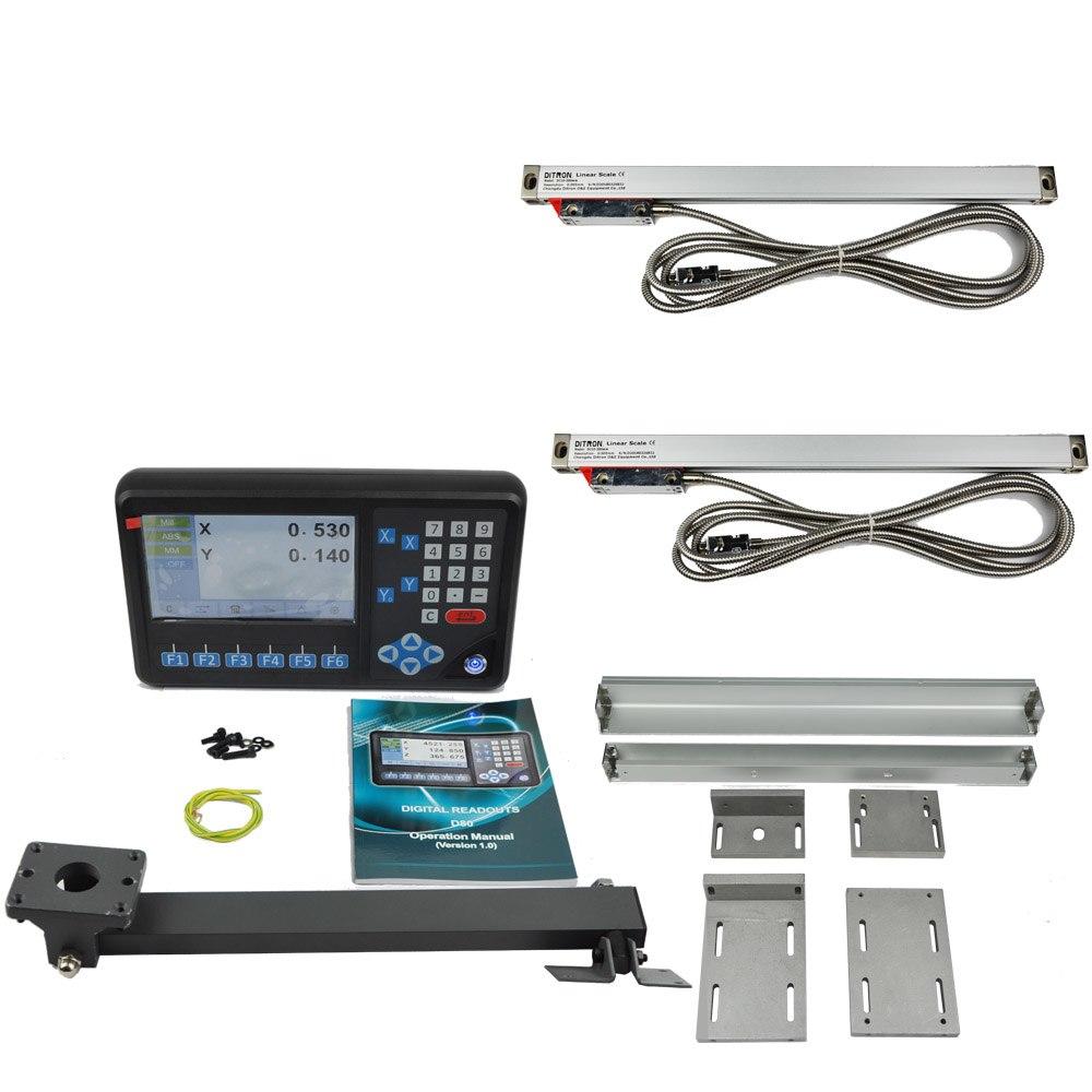 [해외]DRO 2 축 디지털 판독 & amp; 2 개 1um 해상도 Linear Scales Kit 밀 선반 연삭 기계/DRO 2 Axis Digital Readout & 2 pcs 1 um resolution Linear Scales Kit Mill L