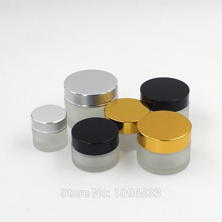 [해외]5G 프로스트 유리 항아리, 검은 색 모자 항아리, 유리 크림 항아리, 빈 화장품 항아리, 화장품 포장 병, 크림 샘플 항아리, 50PCS / 많은/5G Frost Glass Jar, Black Cap Jar, Glass Cream Jar, Empty Cosme