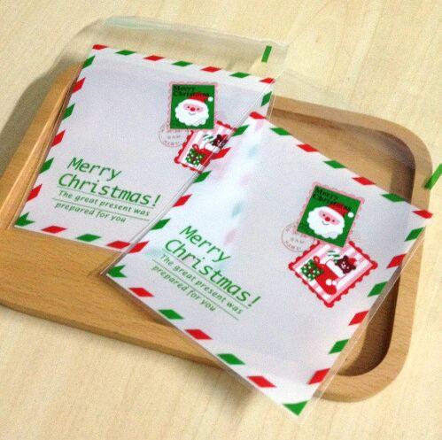 [해외]E1 크기 10x13cm 쿠키 포장 크리스마스 산타 클로스 순록이 스탬프 자체 접착 선물 플라스틱 가방 100PCS를 선호 / 많은/E1 Size 10x13cm cookie packaging Christmas Santa Claus Reindeer favor St