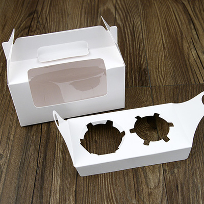 [해외]Size16.5 * 9.2 * 8.7cm 화이트 윈도우 컵 케이크 상자, 2 홀더 머핀 케이크 골판지 상자 쿠키 포장 100PCS / 많은/Size16.5*9.2*8.7cm White Window cup cake box ,2 holder Muffin cake c