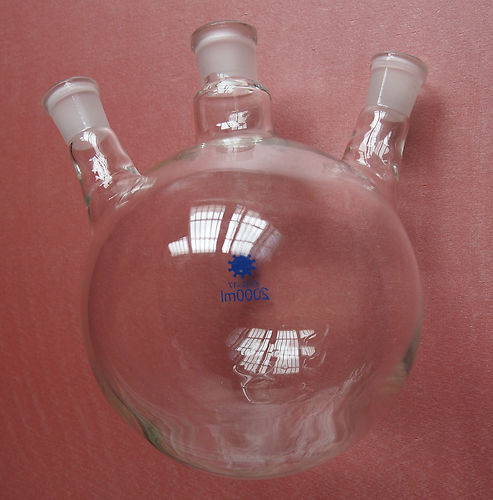 [해외]를 2000ml, 29분의 24 세 목용, 둥근 바닥 유리 플라스크, 실험실 유리/2000ml,24/29,Three Necks,Round Bottom Glass Flask,Laboratory Glassware