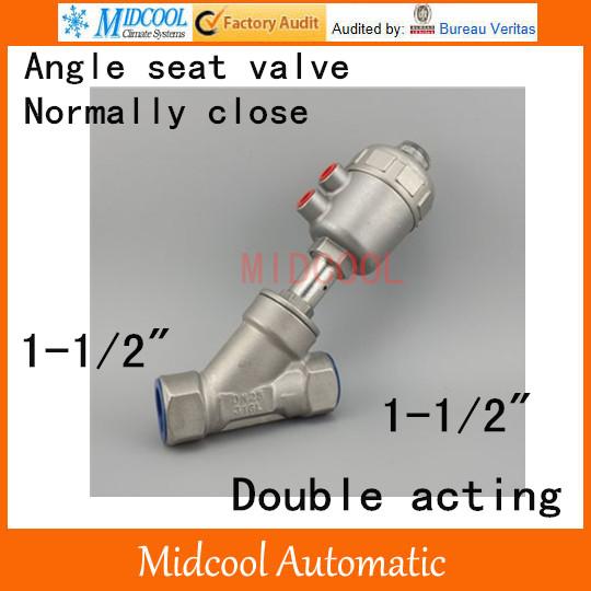 [해외]공압 스테인리스 앵글 시트 밸브 1-1 / 2 & inch BSP DN40 복동 정상 폐쇄 고온 수증기 수/Pneumatic Stainless steel Angle seat valve  1-1/2& inch BSP DN40 double acting nor