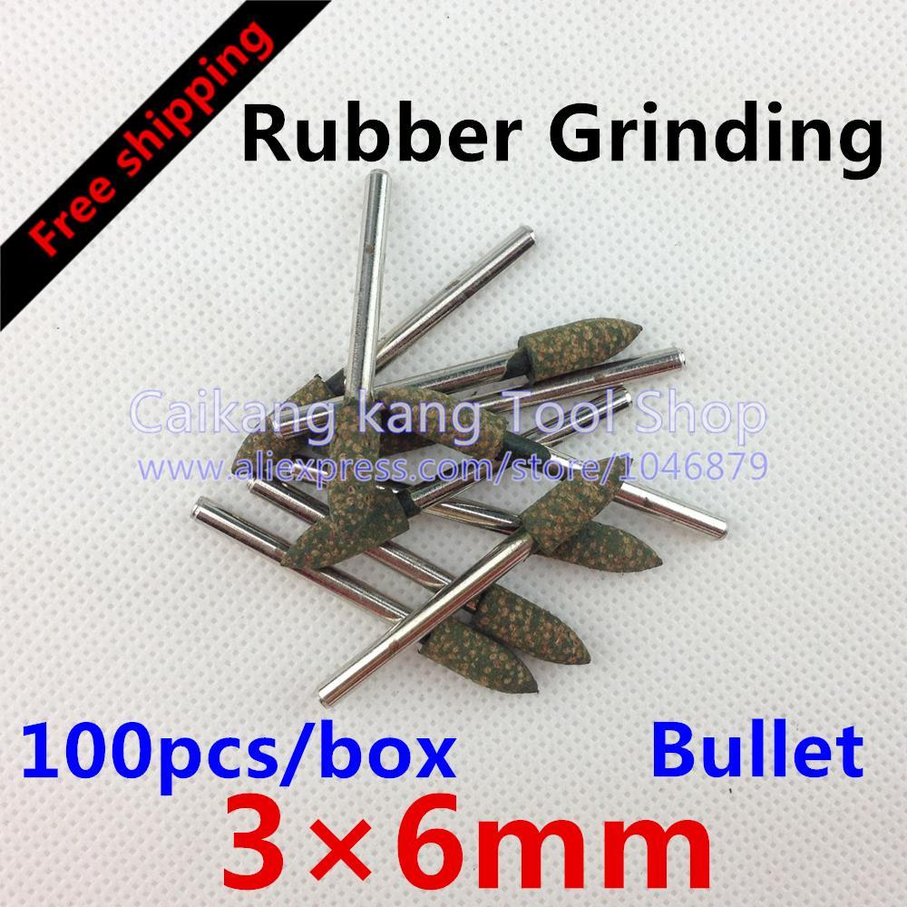 [해외] 새로운 100PCS / 상자 머리 : 폴란드어 도구를 연마 6mm 고무 총알 3 * 6mm를 갈기/Free shipping New 100pcs / box Head: 6mm Rubber Grinding Polish Tools Grind Bullet 3*6mm