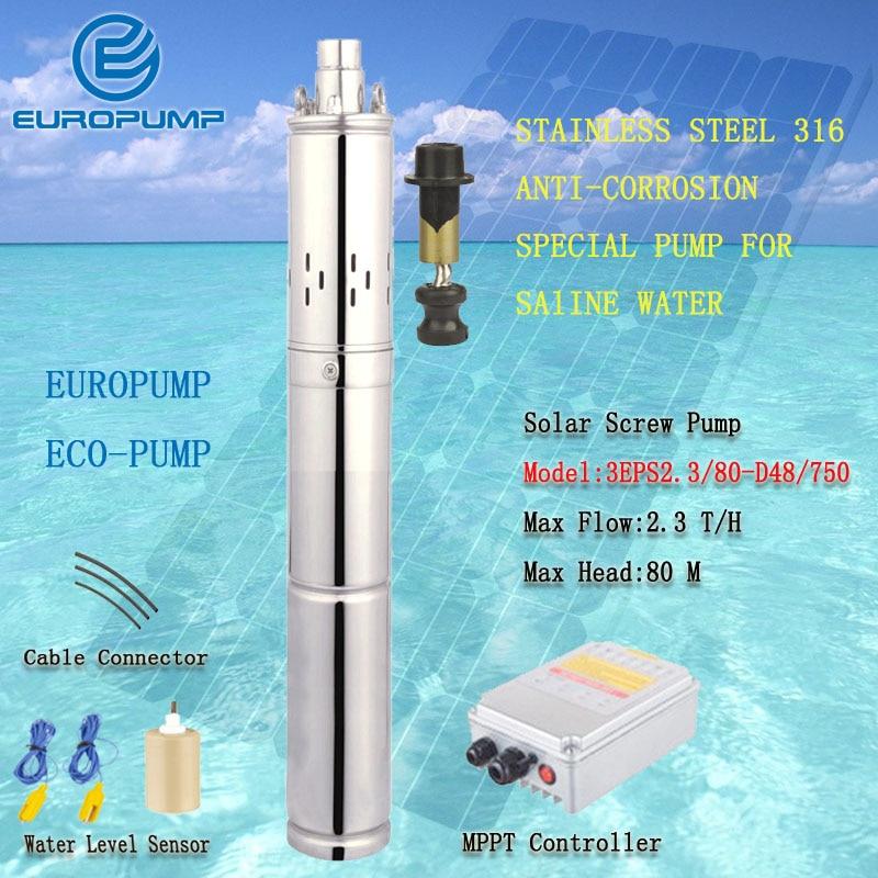 [해외]EUROPUMP 태양 펌프 해상 물 펌프에 대 한 1HP 휴대용 SS316 최대 리프트 80 M 2300LPH 식염수 펌프를 펌핑 (3EPS2.3 / 80-D48 / 750)/EUROPUMP Solar Pump 1HP Portable SS316 For Sea W