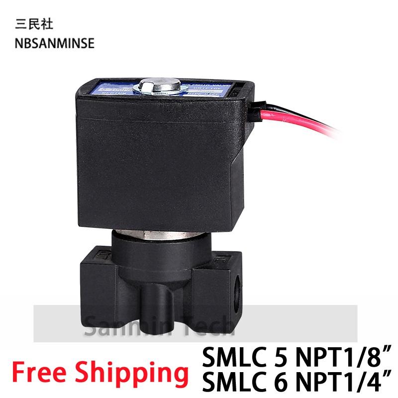 [해외]SMLC 5, SMLC 6 시리즈 워터 디스펜서 플라스틱 솔레노이드 밸브 정상 폐쇄 2 웨이 1/8 1/4 NPT 파이프 크기 EPDM 씰 Sanmin/SMLC 5 , SMLC 6 Series Water Dispenser Plastic Solenoid Valve