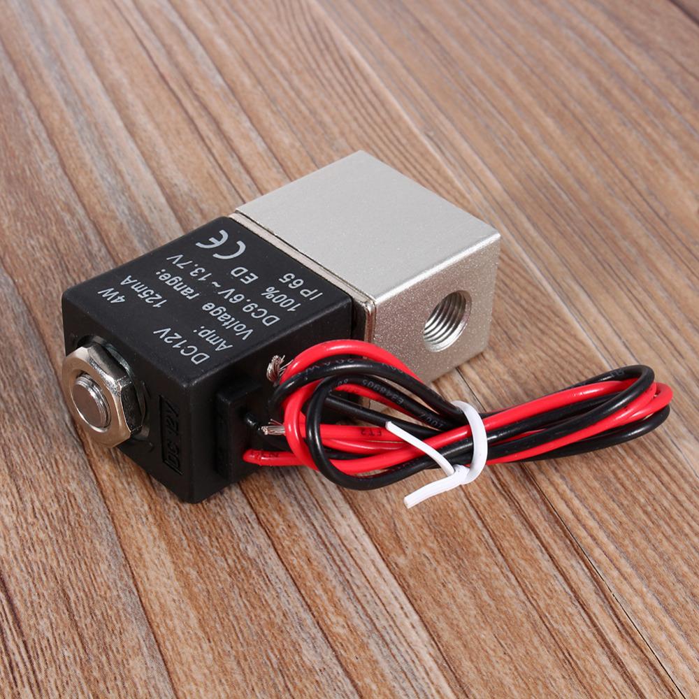 [해외]1 / 8 & 2 방향 평상시 닫힘 공압 알루미늄 전기 솔레노이드 공기 밸브 12V DC/1/8& 2 Way Normally Closed Pneumatic Aluminum Electric Solenoid Air Valve 12V DC