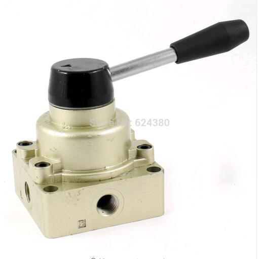 [해외]1 PCS 신형 HV-02 1 / 4 및 흡입구 배출 3 개 3 위치 4 개 4 방향 공압식 에어 핸드 레버 밸브 중앙 폐쇄/1 PCS New  HV-02 1/4& Inlet Outlet Exhaust Three 3 Position Four 4 Way Pneum
