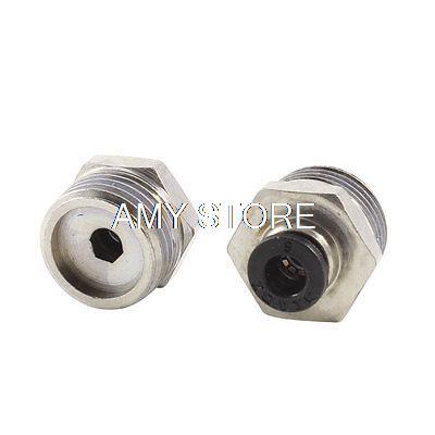 [해외]스트레이트 빠른 연결 공압 피팅 6mm x 1 장 / 2 BSPT 수나사를 통해/Straight Through Quick Connect Pneumatic Fitting 6mm x 1/2& BSPT Male Thread