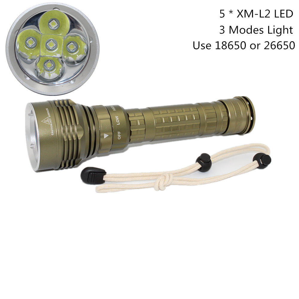 [해외]새로운 다이빙 손전등 LED 라이트 6000LM 100M 수중 방수 토치 랜턴 5x XM - L2 LED 램프 사용 18650/26650 배터리/New Diving Flashlight LED Light 6000LM 100M Underwater Waterproof