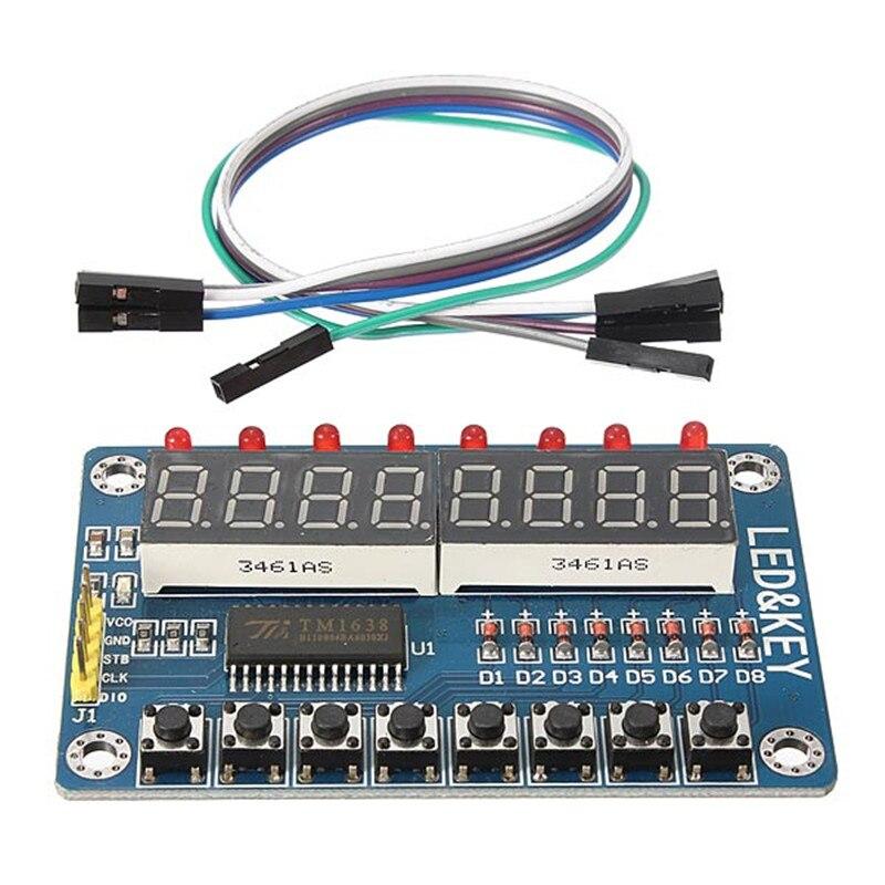 [해외]Claite tm1638 칩 키 디스플레이 모듈 8 비트 디지털 led 튜브 avr vcc gnd 5 v 전원 공급 장치 stb clk dio scm io 포트/Claite tm1638 칩 키 디스플레이 모듈 8 비트 디지털 led 튜브 avr
