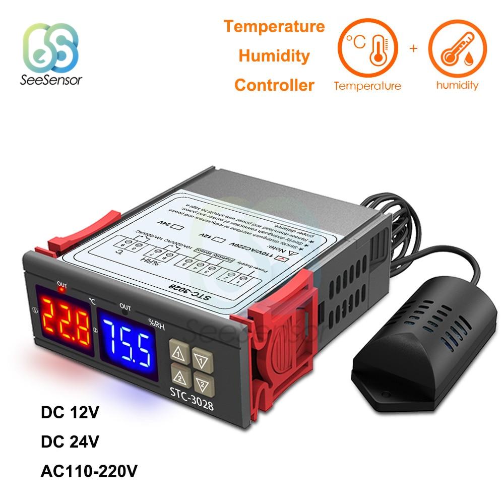 [해외]STC-3028 듀얼 디지털 습도 컨트롤러 온도 컨트롤러 냉장고 온도 조절기 12 v 24 v 220 v 온도계/STC-3028 듀얼 디지털 습도 컨트롤러 온도 컨트롤러 냉장고 온도 조절기 12 v 24 v 220 v 온도계