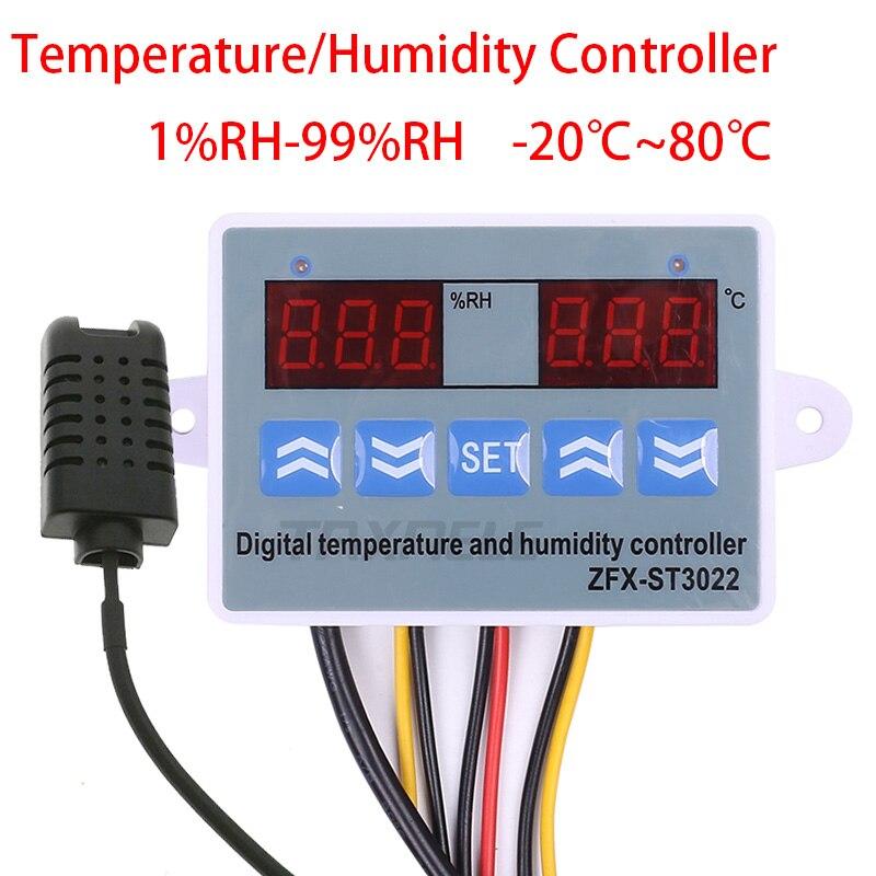 [해외]디지털 온도 습도 컨트롤러 레귤레이터 온도 조절기 습도 센서가 장착 된 hygrostat 온도계 습도계 제어 220 v