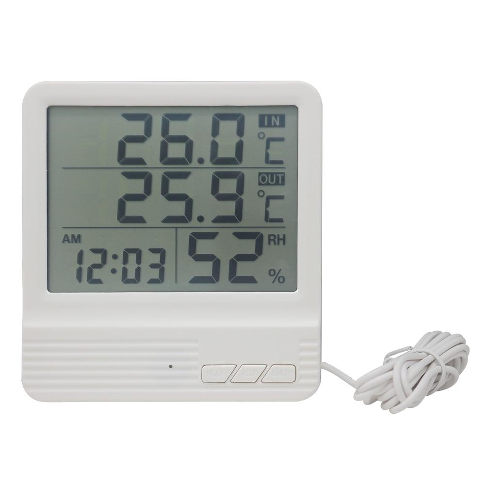 [해외]실내/실외 디지털 온도계 습도계 온도계 게이지 알람 시계 캘린더 LCD 센서 다기능