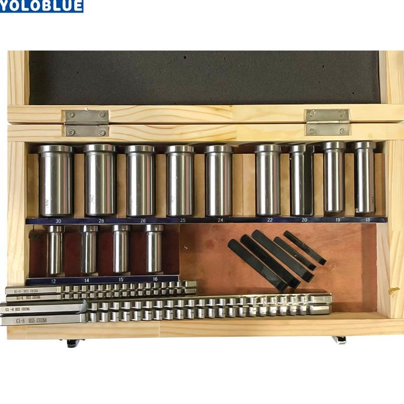 [해외]22pcs hss Groove keyway broach  broaches set key tool Bushing Shim Set Metric System 12-30 HSS Keyway Tool knife for CNC Machine/22pcs hss Groove