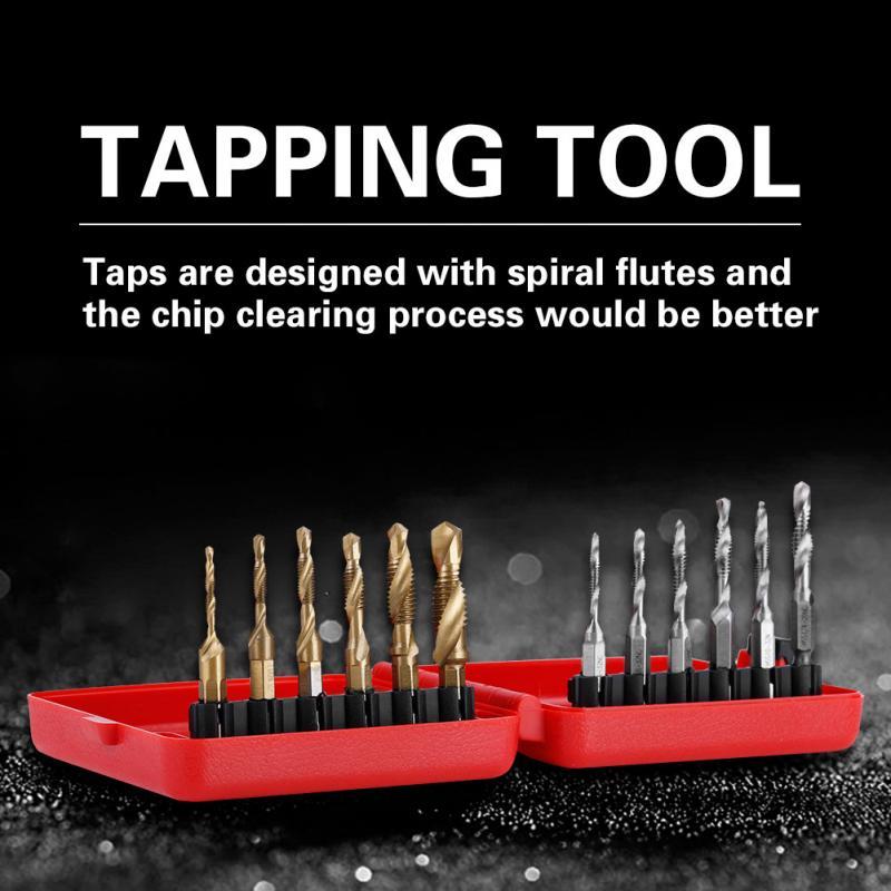 [해외]12Pcs/Set M3-M10 Thread Tap Screw Taps Hex Shank Titanium Plated HSS Screw Thread Metric & Inch Tap Drill Bits Tapping Tool/12Pcs/Set M3-M10 T