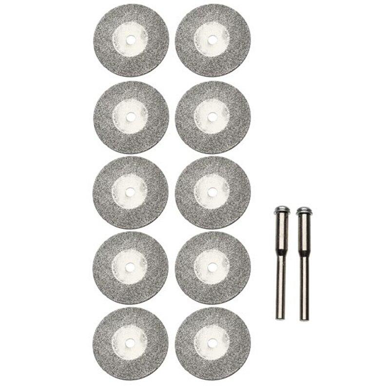 [해외]새로운 10 pcs 25mm 다이아몬드 그라인딩 커팅 디스크 dremel electric grinder 2 mandrels 용 로타리 블레이드 커팅 휠 슬라이스/새로운 10 pcs 25mm 다이아몬드 그라인딩 커팅 디스크 dremel elect