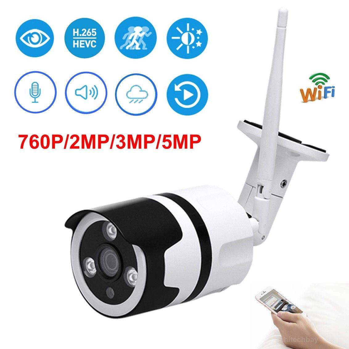 [해외]HD 720P/1080P/3MP/5MP WiFi IP Camera Wireless Mic IR Night Outdoor Onvif Bullet/HD 720P/1080P/3MP/5MP WiFi IP Camera Wireless Mic IR Night Outdoor