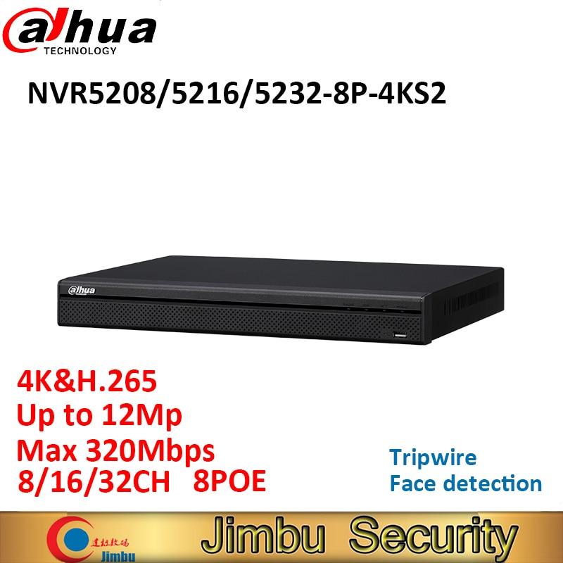 [해외]Dahua 8CH 16CH 32CH NVR 비디오 레코더 NVR5208-8P-4KS2 NVR5216-8P-4KS2 NVR5232-8P-4KS2 8POE 4K & H.265 최대 12Mp 최대 320Mbps/Dahua 8CH 16CH 32CH N
