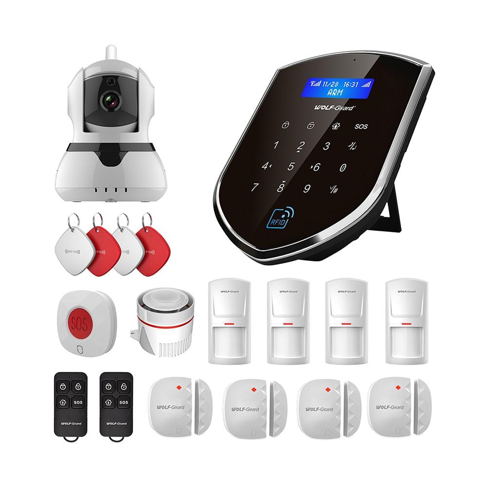 [해외]Wolf-Guard Wireless Wifi Home Alarm Security Burglar System 2G GSM WIFI Sheild Host 720P IP Camera SOS Door/PIR Motion Detector/Wolf-Guard Wireles