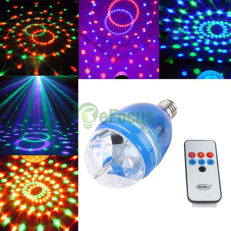 RGB 회전 무대 조명 E27 LED 클럽 사운드 활성화 전구 W / 원격 제어 LLBA 50395/RGB Rotating Stage Light E27 LED Club Sound-activated Bulb W/ Remote Control LLBA 50395